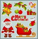 Kerstmis en nieuwe jaarpictogrammen Vector geplaatste stickers vector illustratie