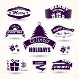 Kerstmis en nieuwe jaarreeks van pictogrammenboom, gift Royalty-vrije Stock Foto's