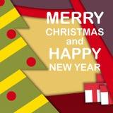 Kerstmis en nieuwe jaarvakantie als thema gehade vector abstracte achtergrond, materieel ontwerp Stock Fotografie