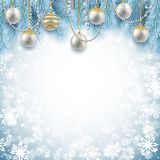 Kerstmis en Nieuwjaar achtergrondontwerp, decoratieve ballen met royalty-vrije illustratie