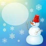 Kerstmis en Nieuwjaar, afficheontwerp met sneeuwman Royalty-vrije Stock Afbeelding