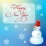 Kerstmis en Nieuwjaar, afficheontwerp met sneeuwman Royalty-vrije Stock Fotografie