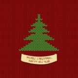 Kerstmis en Nieuwjaar breiende kaart met boom royalty-vrije illustratie