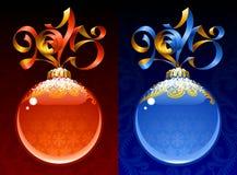 Kerstmis en Nieuwjaar 2015 cirkelkader Rood en blauw Stock Afbeeldingen