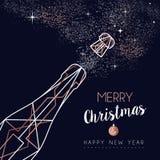 Kerstmis en Nieuwjaar de groetkaart van de koperlijn royalty-vrije illustratie