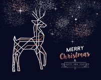 Kerstmis en Nieuwjaar de hertenkaart van het koperoverzicht stock illustratie