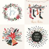 Kerstmis en Nieuwjaar de inzameling van groetkaarten Stock Afbeeldingen