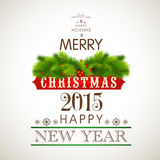 Kerstmis en Nieuwjaar de kaartontwerp van de vieringengroet Stock Foto's