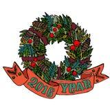 Kerstmis en Nieuwjaar de kroon van de maretakvakantie met pijnboombuilen en bessen Beeldverhaalontwerp met rood lint Vector illus stock illustratie