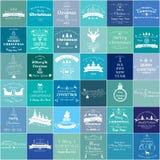 Kerstmis en Nieuwjaar de wijnoogst etiketteert en verzinnebeeldt reeks Stock Foto's