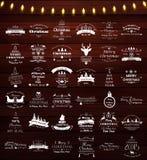 Kerstmis en Nieuwjaar de wijnoogst etiketteert en verzinnebeeldt reeks Royalty-vrije Stock Afbeeldingen