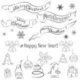 Kerstmis en Nieuwjaar decoratieve elementen Royalty-vrije Stock Foto's