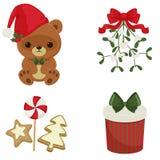 Kerstmis en Nieuwjaar feestelijke pictogrammen Royalty-vrije Stock Afbeeldingen