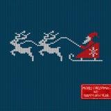 Kerstmis en Nieuwjaar gebreide patroonkaart Stock Fotografie