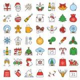 Kerstmis en Nieuwjaar geplaatste kleurenpictogrammen stock afbeelding