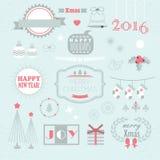 Kerstmis en Nieuwjaar geplaatste ontwerpelementen Royalty-vrije Stock Foto's