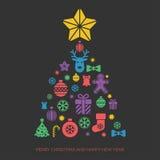 Kerstmis en Nieuwjaar het malplaatje van de groetkaart Stock Foto