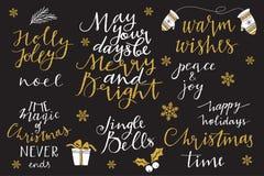 Kerstmis en Nieuwjaar 2016 het van letters voorzien inzameling Stock Afbeelding