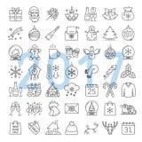 Kerstmis en Nieuwjaar lineaire geplaatste pictogrammen stock afbeelding