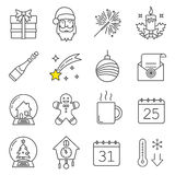 Kerstmis en Nieuwjaar lineaire geplaatste pictogrammen royalty-vrije stock foto