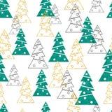 Kerstmis en Nieuwjaar naadloos patroon met gestileerde sparren vector illustratie