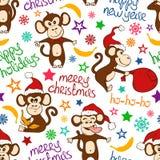Kerstmis en Nieuwjaar Naadloos Patroon met Grappige Aap Stock Fotografie