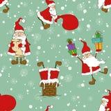 Kerstmis en Nieuwjaar Naadloos Patroon met Grappige Santa Claus Stock Afbeeldingen