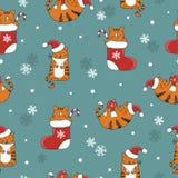 Kerstmis en Nieuwjaar naadloos patroon met leuke beeldverhaalkatten vector illustratie