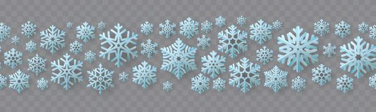 Kerstmis en Nieuwjaar naadloze grens met document sneeuwvlokken Eps 10 royalty-vrije illustratie
