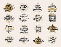 Kerstmis en Nieuwjaar` s de tekens plaatsen zwarte gouden kleur op witte achtergrond voor giftmarkeringen Royalty-vrije Stock Foto