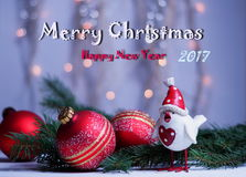 Kerstmis en Nieuwjaar` s groeten met het symbool 2017 Royalty-vrije Stock Afbeelding