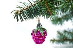 Kerstmis en Nieuwjaar` s uitstekende retro rode stuk speelgoed decoratieframbozen van glas Royalty-vrije Stock Afbeelding