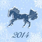 Kerstmis en Nieuwjaar vectorkaart met een paard Stock Fotografie