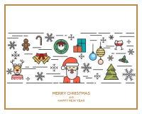 Kerstmis en Nieuwjaar vlak lijnontwerp Royalty-vrije Stock Afbeelding