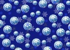 Kerstmis en Nieuwjaarachtergrond, blauwe ballen met een patroon van royalty-vrije stock afbeeldingen