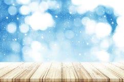 Kerstmis en Nieuwjaarachtergrond Houten lijst met abstracte wi Royalty-vrije Stock Foto's