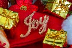 Kerstmis en Nieuwjaarachtergrond met decoratie Stock Foto