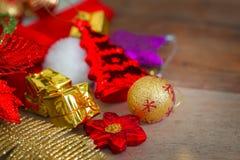 Kerstmis en Nieuwjaarachtergrond met decoratie Stock Foto's