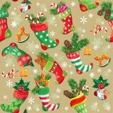 Kerstmis en Nieuwjaarachtergrond met Kerstmisvoorraad Stock Fotografie