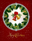 Kerstmis en Nieuwjaarachtergrond met Klokken, boomtakken en ballen De kaart van de vakantie Vector illustratie Royalty-vrije Stock Afbeeldingen