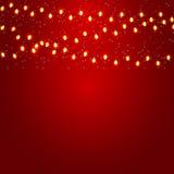 Kerstmis en Nieuwjaarachtergrond met Lichtgevend Stock Afbeeldingen