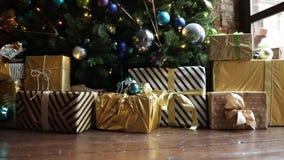 Kerstmis en Nieuwjaarbinnenhuisarchitectuur stock video