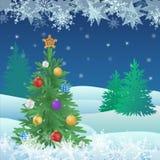 Kerstmis en Nieuwjaarboom met ballen en gevierde ster Stock Afbeelding