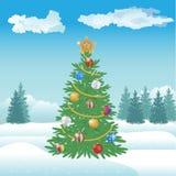 Kerstmis en Nieuwjaarboom met ballen en gevierde ster Royalty-vrije Stock Afbeeldingen