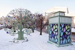 Kerstmis en Nieuwjaardecoratie in de stadscentrum van Moskou Stock Afbeeldingen