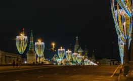 Kerstmis en Nieuwjaardecoratie in Moskou Royalty-vrije Stock Fotografie