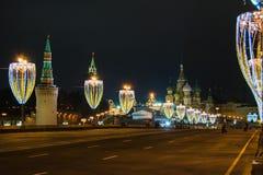 Kerstmis en Nieuwjaardecoratie in Moskou Stock Foto's