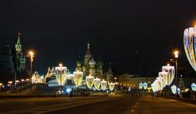 Kerstmis en Nieuwjaardecoratie in Moskou Stock Fotografie
