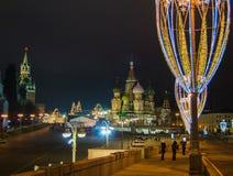 Kerstmis en Nieuwjaardecoratie in Moskou Royalty-vrije Stock Afbeeldingen