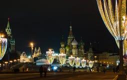 Kerstmis en Nieuwjaardecoratie in Moskou Stock Afbeeldingen